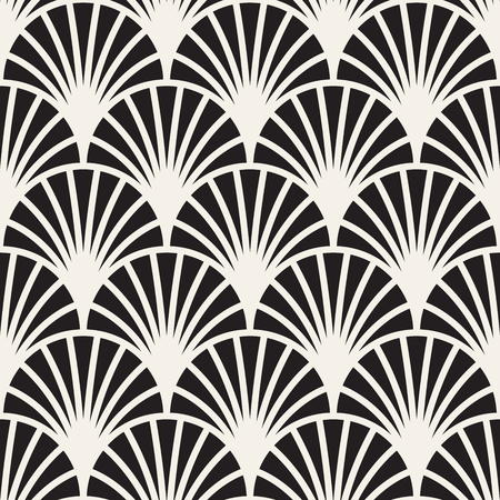 Vector seamless vintage pattern of overlapping arcs in art deco style. Modern stylish abstract texture. Repeating geometric tiles from striped elements