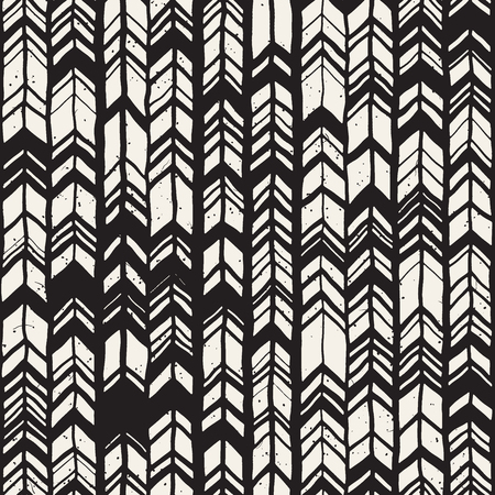 Vector seamless freehand pattern. Doodle monochrome print with hand drawn chevron texture. Trendy graphic design.