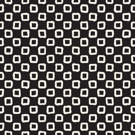 Hand drawn seamless pattern. Abstract geometric shapes background in black and white. Vector ethnic style grungy texture. Ilustração