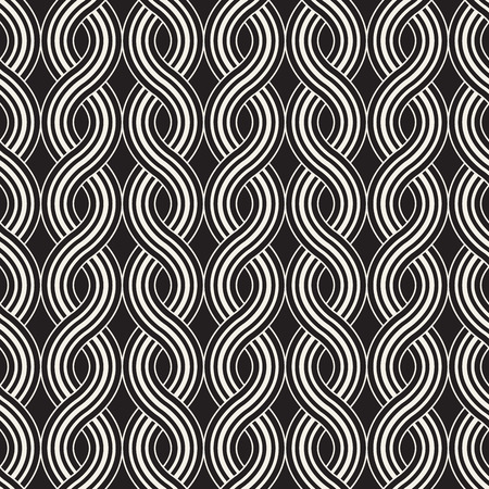 Vector seamless pattern. Modern stylish abstract texture. Repeating rounded wavy geometric tiles from striped elements
