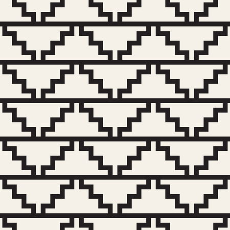 Vector seamless pattern. Ethnic stylish abstract texture. Repeating geometric tiles from striped elements