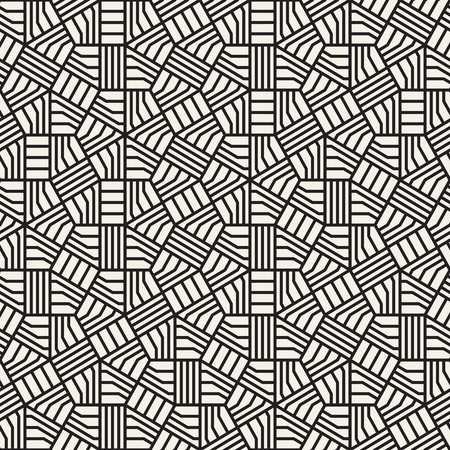 Abstract geometric pattern with stripes. Vector seamless background. Black and white linear lattice texture.