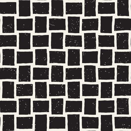 Dibujado a mano sin fisuras patrón repetitivo con líneas de mosaico. Grungy textura de fondo de pincel de tinta a mano alzada.
