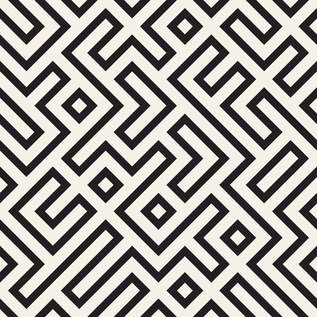 Irregular maze line lattice. Abstract geometric background design. Vector seamless black and white pattern. 矢量图像