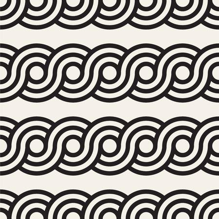 ベクトルシームレスな丸みを帯びたインターレースパターン。モダンでスタイリッシュな抽象的なテクスチャ。ストライプ要素からジオメトリタイルを繰り返す 写真素材 - 108109887