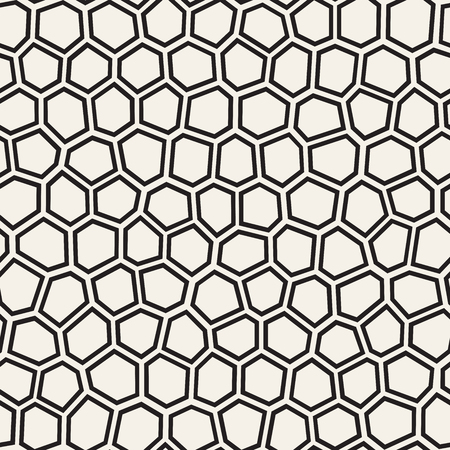 Seamless linee irregolari vettore mosaico pattern. Struttura caotica astratta della tassellatura. Sfondo di pavimentazione di forme casuali Vettoriali