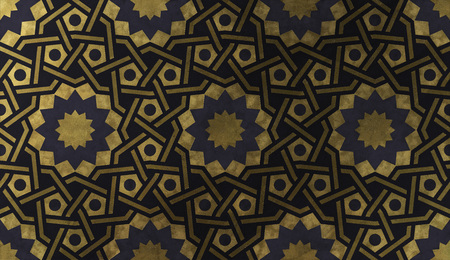 Background design illustration based on traditional oriental graphic motifs. Islamic decorative pattern with golden artistic texture. Arabian ethnic mosaic with interlacing lines and geometric tiled ornaments.