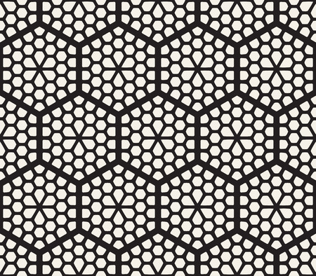 Vector seamless abstract pattern. Modern stylish striped lattice texture. Repeating geometric tiles with hexagonal elements.