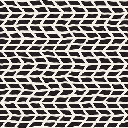 Simple ink geometric pattern. Monochrome black and white strokes background. Hand drawn ink brushed texture for your design Illustration