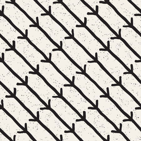 Hand drawn black and white ink abstract seamless pattern. Vector stylish grunge texture. Monochrome geometric shappes paint brush lines