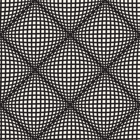 Vector seamless lines mosaic pattern. Modern stylish abstract texture. Repeating geometric rhombus tiles with optical illusion