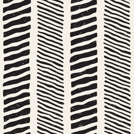 Simple ink lines geometric pattern. Monochrome black and white strokes background. Hand drawn ink brushed zigzag texture