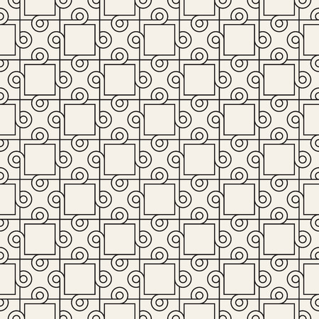 Vector seamless interlacing circles pattern. Simple abstract checker lattice. Repeating geometric tiles with weaved lines.