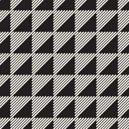 Vector seamless pattern. Black and white geometric design. Polygonal linear grid from striped triangle elements.