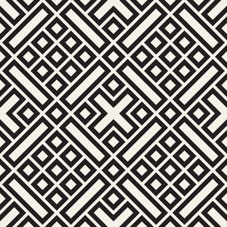 Diseño de vector de patrón étnico. Fondo de celosía geométrica perfecta. Elementos de líneas cuadradas que se repiten. Ilustración de vector