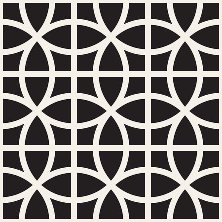 Vector seamless pattern. Repeating abstract background. Black and white geometric lattice design. Modern stylish texture.