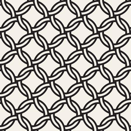 Patrón transparente de cadena de vector. Elegante textura entretejida. Fondo de líneas de círculo entrelazado geométrico decorativo.