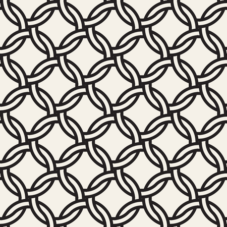 Vector chain seamless pattern. Stylish interweaving texture. Decorative geometric interlaced circle lines background.