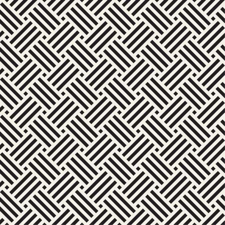 Vector seamless pattern. Geometric striped ornament. Linear weave lattice background.