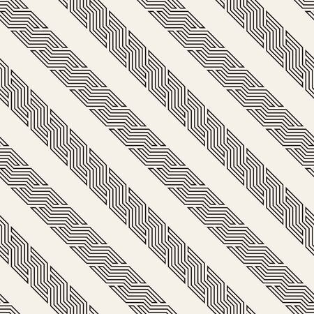 Vector seamless geometric pattern. Modern interlaced slanted lines abstract texture. Polygonal linear grid from striped elements. Çizim