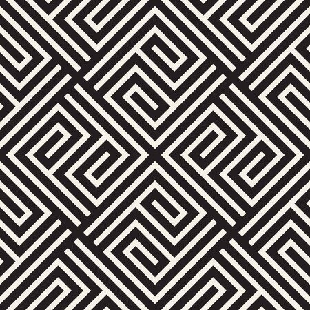 Abstract pattern with spiral lines. Vector seamless geometric tiling background. Black and white linear lattice design. Illustration