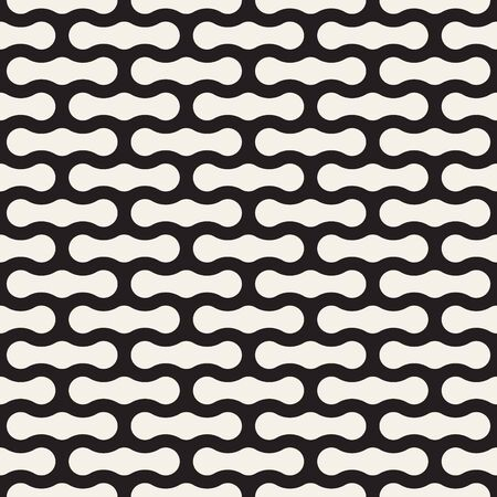 Vector seamless pattern. Modern stylish texture. Repeating abstract background. Monochrome geometric rounded shapes. Çizim