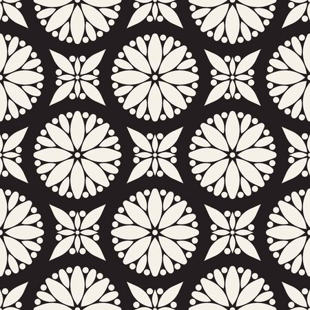 Vector seamless pattern. Modern stylish abstract texture. Repeating geometric circle and star tiles from striped decorative elements. Çizim