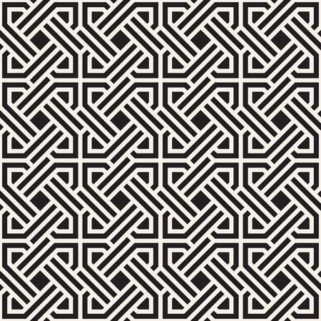 Vector seamless pattern. Modern stylish abstract texture. Repeating geometric tiles from striped interlaced elements