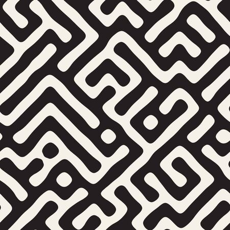 Vector seamless pattern. Monochrome organic shapes texture. Abstract rounded messy lines stylish background.