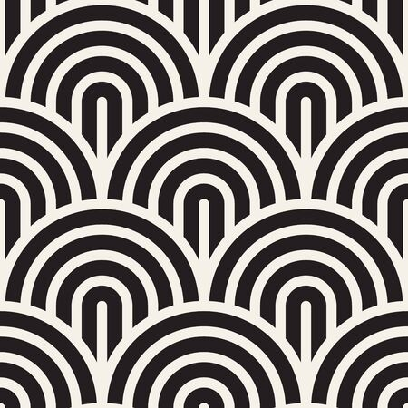 Vector seamless pattern. Concentric bold circles. Geometric striped ornament. Round lines background. Reklamní fotografie - 133626050