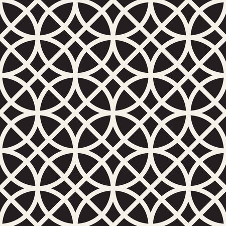 Vector seamless pattern. Repeating abstract background. Black and white geometric lattice design. Thin round lines tiling ornament. Modern stylish texture. Reklamní fotografie - 133626059