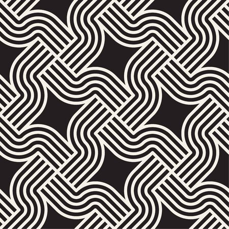 Vector seamless interlaced pattern. Modern stylish abstract rounded crossing lines texture. Repeating geometric striped lattice.