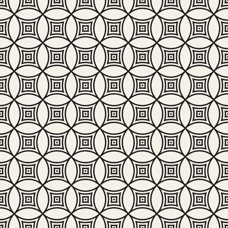 Vector seamless pattern. Repeating abstract background. Black and white geometric lattice design. Concentric circles tiling ornament. Modern stylish texture. Reklamní fotografie - 133626071