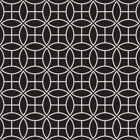 Vector seamless pattern. Repeating abstract background. Black and white geometric lattice design. Thin round lines tiling ornament. Modern stylish texture. Reklamní fotografie - 133626074