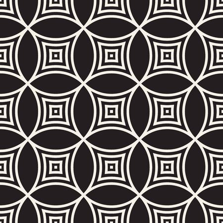 Vector seamless pattern. Repeating abstract background. Black and white geometric lattice design. Concentric circles tiling ornament. Modern stylish texture. Reklamní fotografie - 133626073