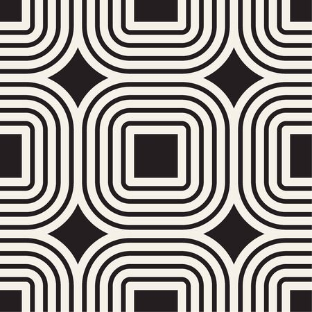 Vector seamless pattern. Modern stylish texture. Repeating abstract background. Monochrome geometric rounded lines and squares. Reklamní fotografie - 133626506
