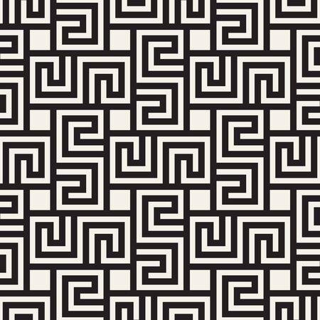 Vector seamless pattern. Geometric striped simple ornament. Monochrome spiral lines lattice. Ilustração Vetorial