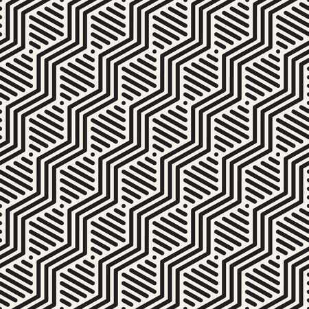 Vector seamless geometric pattern. Modern slanted zigzag texture. Linear graphic design.