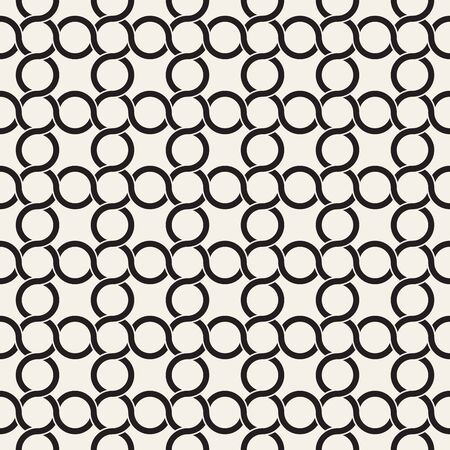 Vector seamless pattern. Monochrome bold wavy stripes background. Decorative geometric interlaced lines.
