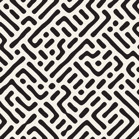 Vector seamless trendy maze pattern. Monochrome organic shapes texture. Abstract rounded messy lines stylish background. Reklamní fotografie - 133626609