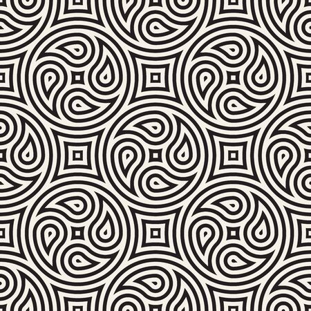Seamless vector pattern geometric background. Geometric floral lines lattice. Rounded repeating abstract design elements.