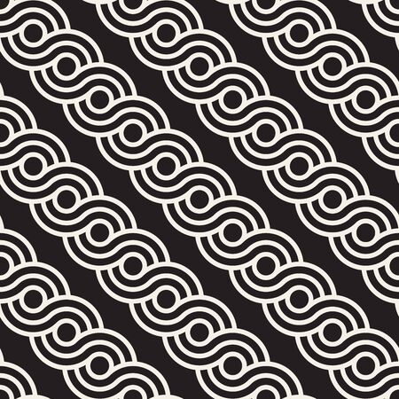 Vector seamless interlacing lines pattern. Modern stylish abstract background. Repeating geometric rounded stripes design. Reklamní fotografie - 133626621