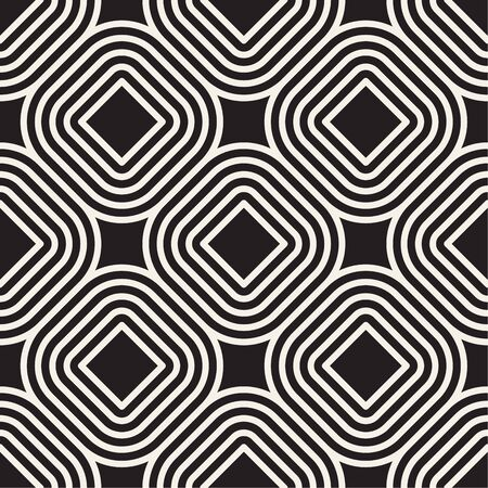Vector seamless pattern. Modern stylish texture. Repeating abstract stripes background. Monochrome geometric rounded lines.