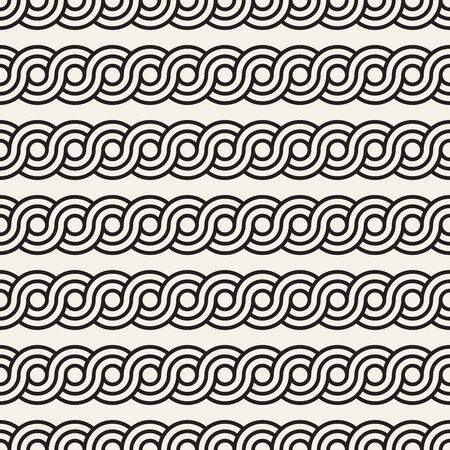 Vector seamless pattern. Monochrome bold wavy stripes background. Decorative geometric interlaced horizontal lines.