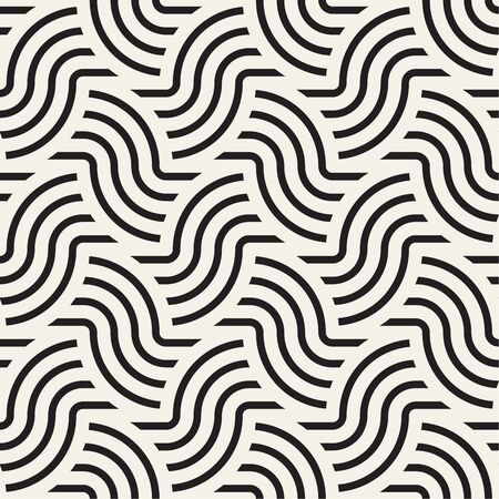 Vector seamless pattern. Monochrome rounded wavy stripes background. Decorative geometric interlaced lines. Reklamní fotografie - 133626747