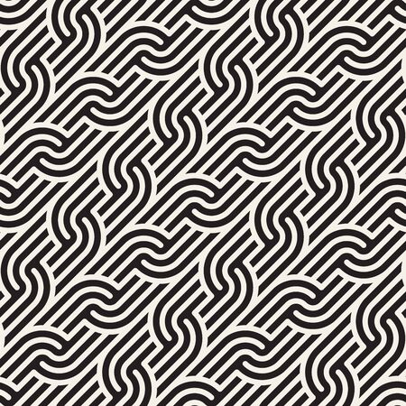 Vector seamless elegant pattern. Geometric rounded stripes ornament. Simple slanted wavy lines background. Reklamní fotografie - 133626722
