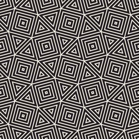 Vector seamless pattern. Repeating abstract background. Black and white geometric design. Modern stylish texture. Ilustração Vetorial