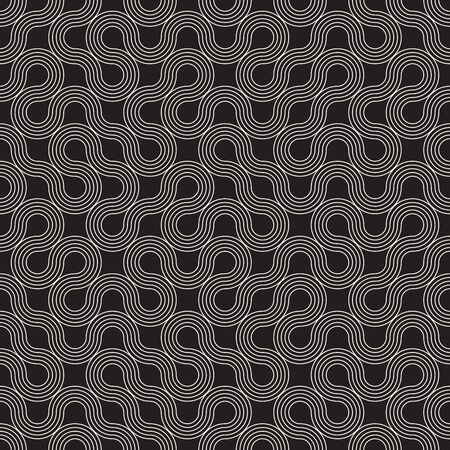 Vector seamless geometric pattern. Irregular linear abstract grid. Chaotic maze rounded thin lines texture. Ilustrace