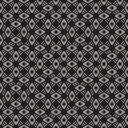 Vector seamless wavy stripes pattern. Modern stylish texture. Repeating abstract circles background. Monochrome geometric rounded thin lines.