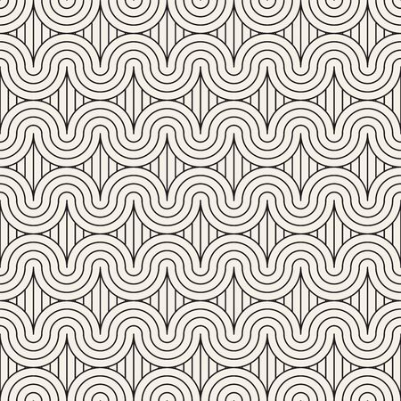 Vector seamless pattern. Modern stylish texture. Repeating abstract background. Monochrome geometric wavy rounded stripes. Reklamní fotografie - 133626809